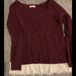 Hollister lace trimmed sweater